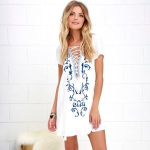 Lulus White Embroidered Shift Dress - Size S